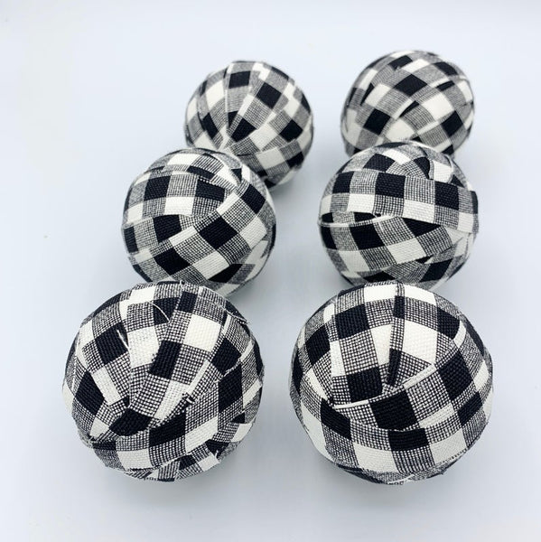 "Black and white 3"" buffalo check plaid gingham fabric wrapoed balls- bowl filler decor"