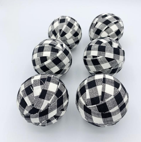 "2"" Buffalo Check Fabric Wrapped BAlls- Black And White Holiday Gingham Bowl fillers"