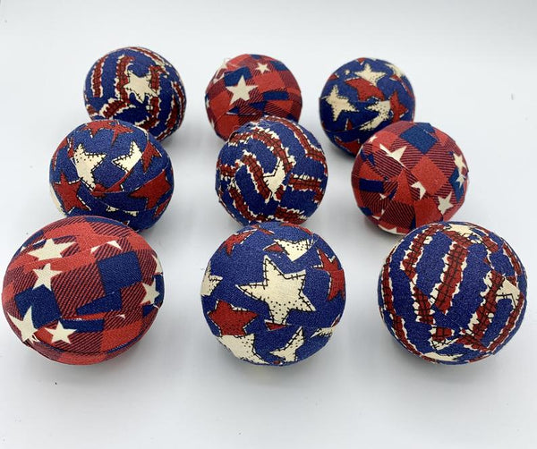 Red and Navy Blue Patriotic Stars fabric wrapped balls- set of 10 bowl filler