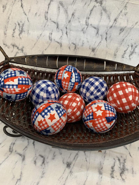 All American Patriotic Plaid fabric wrapped balls