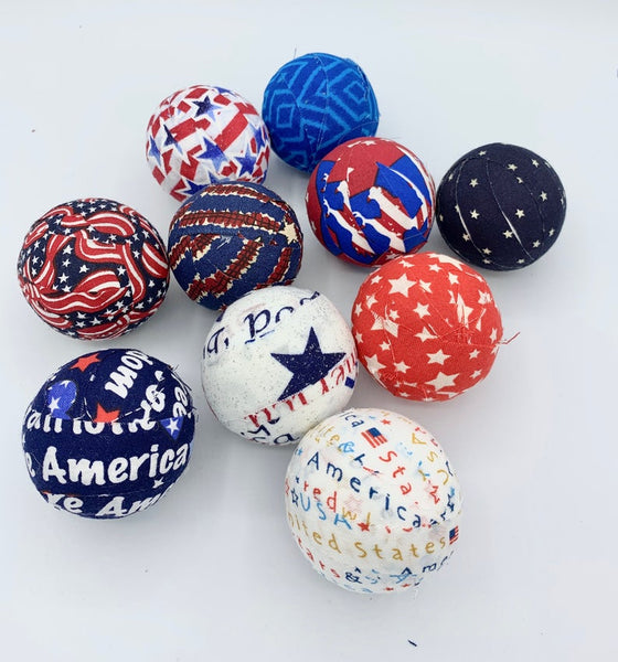 Patriotic Fabric Wrapped Rag Ball Bowl Fillers