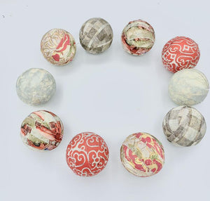 country roads - fabric wrapped balls-set of 10