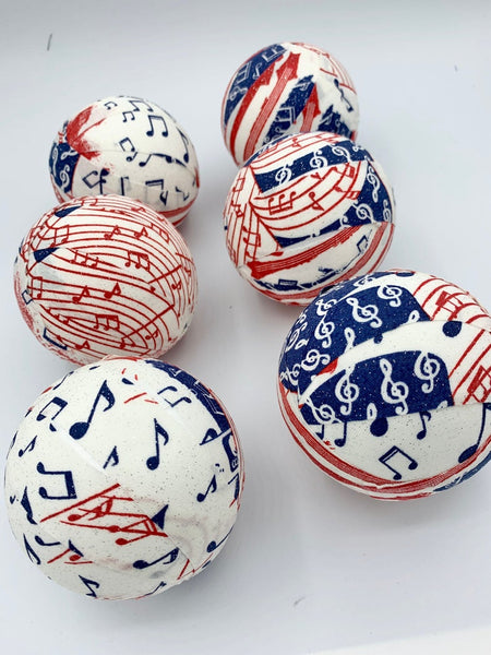 Patriotic Music Notes fabric wrapped balls- bowl fillers