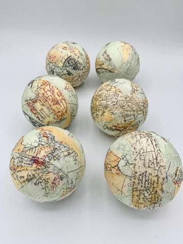 Travel The World Map Fabric Wrapped Balls