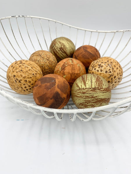 Beautiful Brown Gold fabric wrapped balls- neutral bowl filler orbs