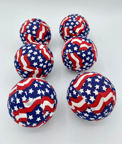 American Flag patriotic fabric wrapped balls- set bowl filler orb