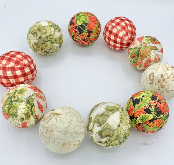 Old English Rose Garden fabric wrapped balls- set of 10
