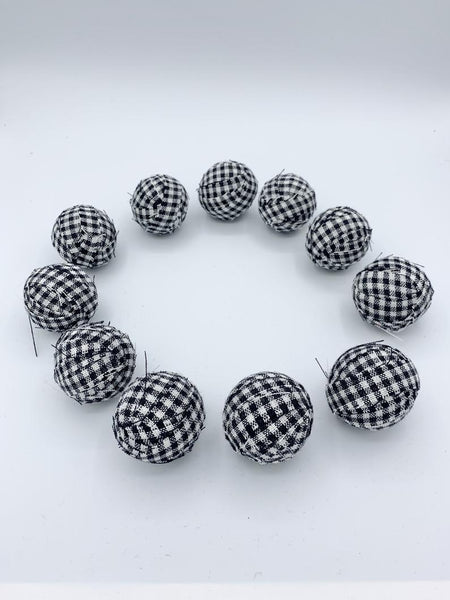 Set of 12 black white buffalo check farmhouse fabric wrapped balls- small bowl fillers
