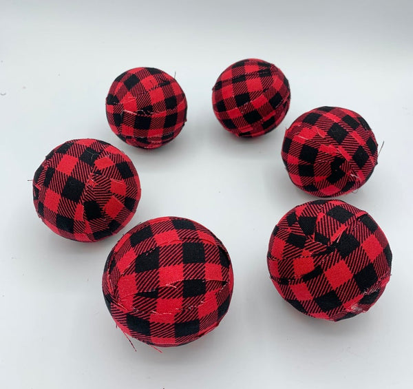 Red and Black Buffalo Check plaid fabric wrapped balls- bowl filler set