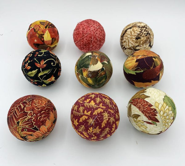 "Thanksgiving Fall Fabric 2"" Wrapped Balls- set of 8"