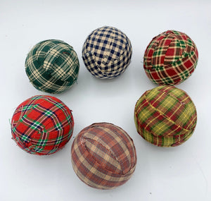 Plaid Checked Fabric Wrapped Balls