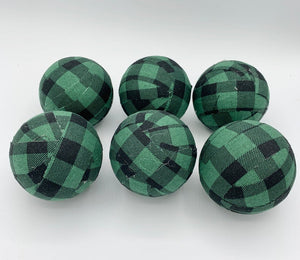 green and black buffalo check fabric wrapped balls- bowl filler holiday decor set