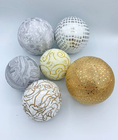 Holiday Gold and Silver Rag Ball Fabric  Bowl Filler Set
