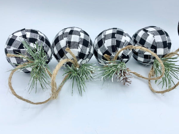 White and black buffalo check holiday Christmas ornaments set