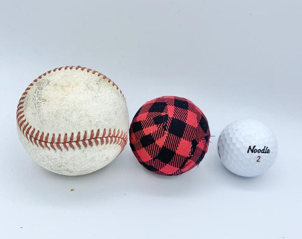 Burlap and red/black buffalo check fabric wrapped balls- bowl filler set of 8