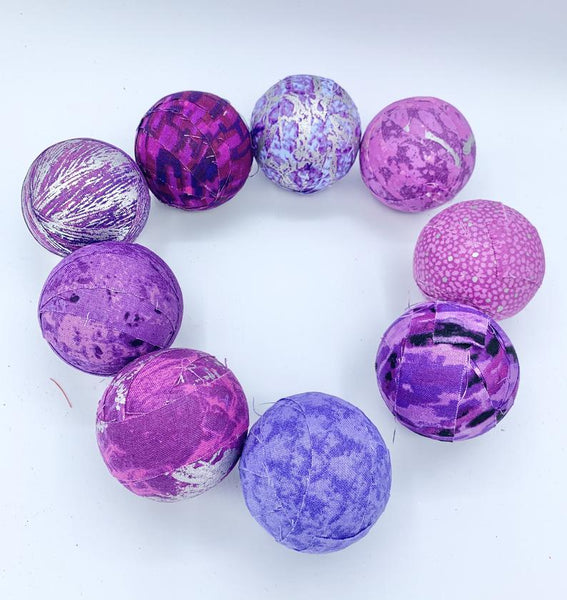 purple and silver fabric wrapped balls- bowl filler set 2.3""