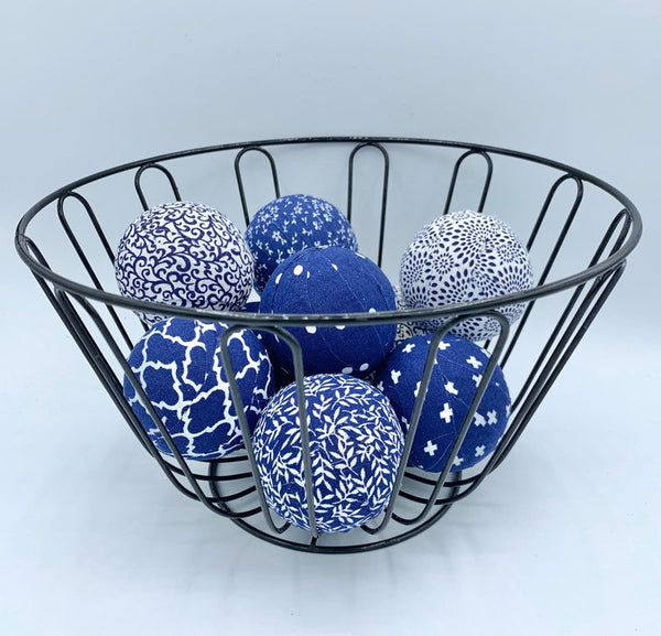 "2.3"" Blue and white fabric wrapped balls bowl filler set home decor"