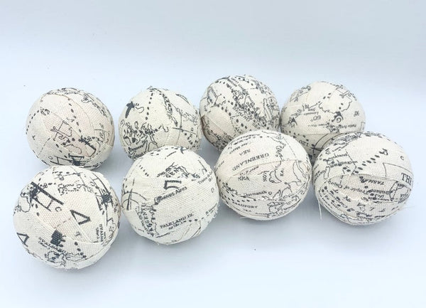 "2.3"" Aeronautical Travel Aviation Old World Map fabric wrapped balls set of 8"