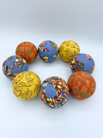 Harvest Blessings blue orange yellow fall fabric wrapped balls- autumn bowl filler set