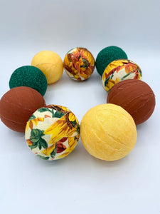 Sunflower Burst fabric wrapped balls- bowl filler orbs set