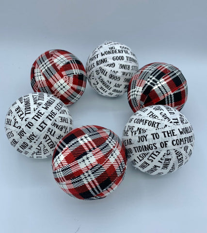 Christmas Songs and Plaid Fabric wrapped balls ornaments set of 6