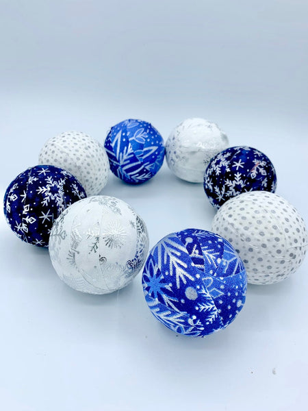 Blue Silver White snowflakes fabric covered balls- bowl filler winter christmas set