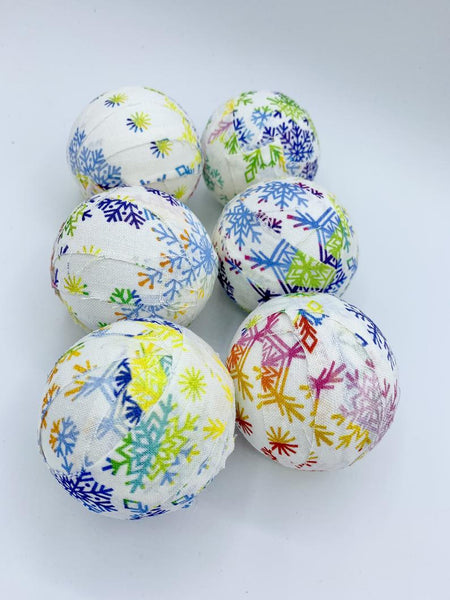Rainbow Colorful Snowflakes -christmas fabric wrapped balls- holiday bowl filler orb set