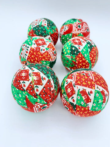 Christmas Patches fabric covered balls- holiday bowl filler set