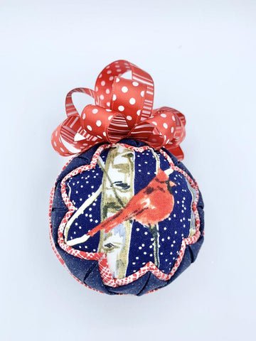 Cardinal in Snow blue fabric quilted christmas holiday tree ornament