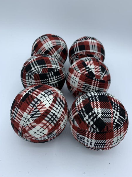 Red Black and White Buffalo check plaid fabric wrapped balls - bowl filler set