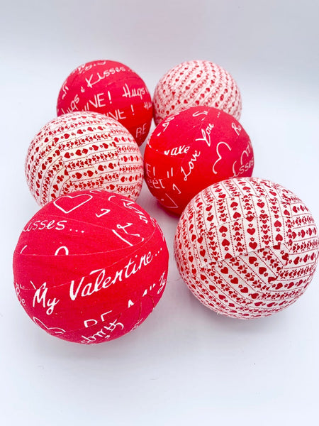 Valentine's day words and hearts fabric wrapped balls- bowl filler decor set