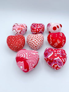 Red, White, Pink Valentine's day fabric wrapped hearts- set of 8 bowl fillers