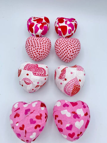 Pink and White Valentine's day fabric covered hearts- set of 8 holiday decoration