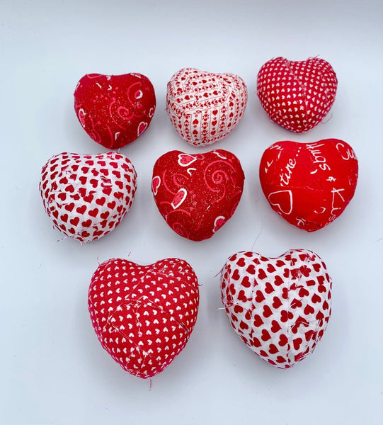 Red White valentine's day hearts fabric wrapped bowl filler- holiday decoration set of 8