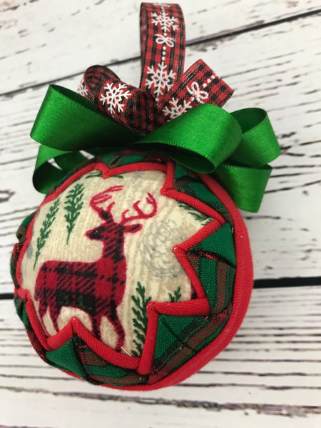 Woodlands Christmas Cabin theme fabric ornament- bear or deer