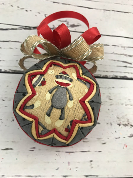 Sock Monkey fabric quilted ornament ball