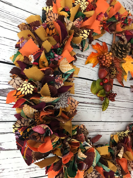 Harvest Rag Tie Autumn Wreath Thanksgiving
