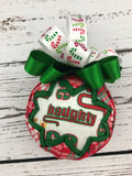 Naughty or Nice Fabric Quilted Christmas Ornament