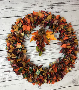 Harvest Rag Tie Autumn Wreath
