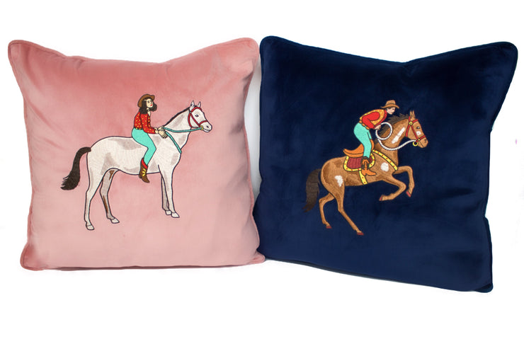RODEO EMBROIDERED CUSHION COVER - PEACH