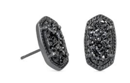 Ellie Earring ~ Gunmetal Black Drusy
