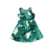 Vibrant Palm Print Girls Cotton Dress