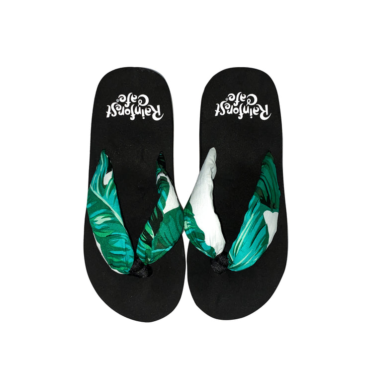 Palm Print Girls Flip Flops