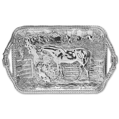 King Ranch Horse & Hound Silver Platter
