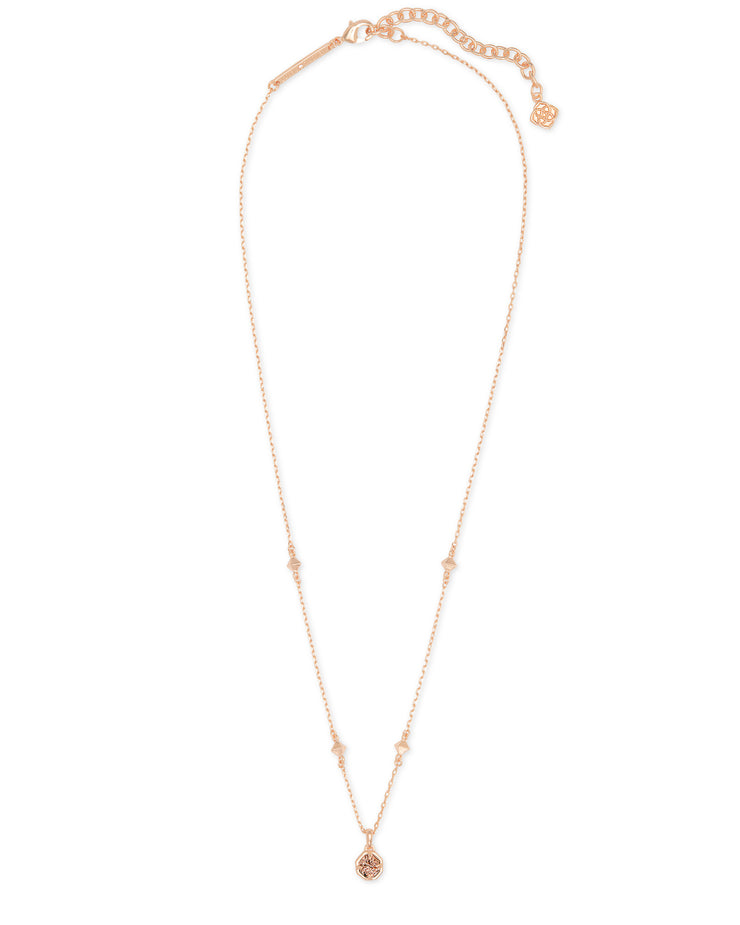 Nola Pendant Necklace - Rose Gold Iridescent Drusy