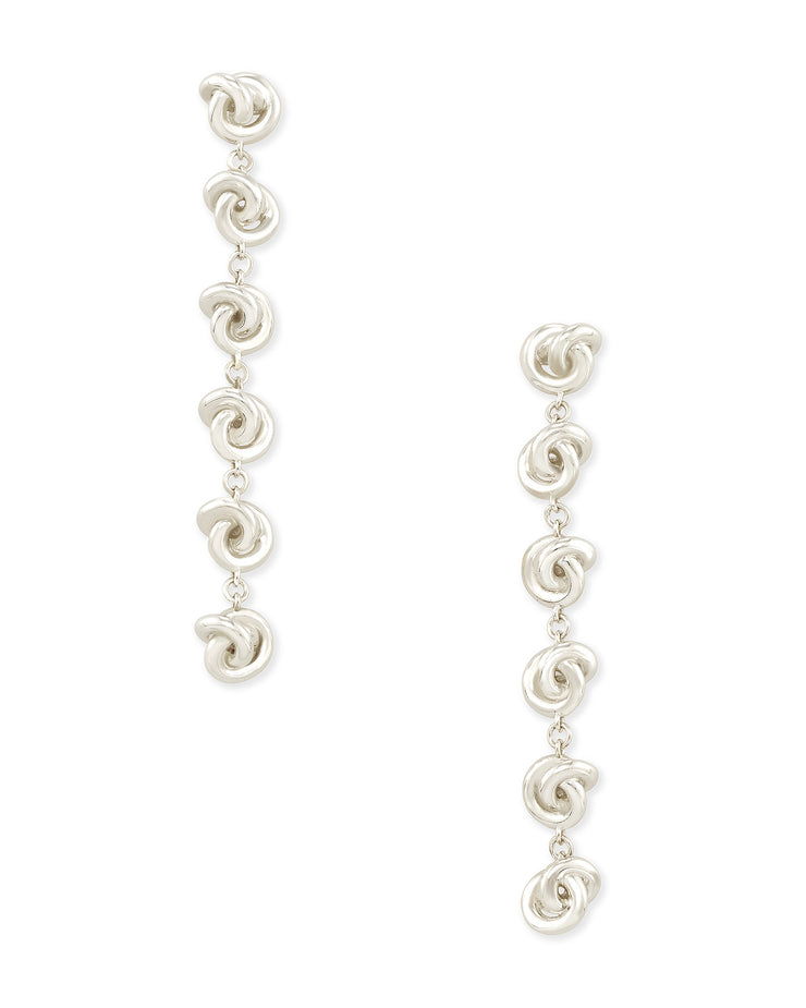 Presleigh Linear Drop Earrings - Bright Silver
