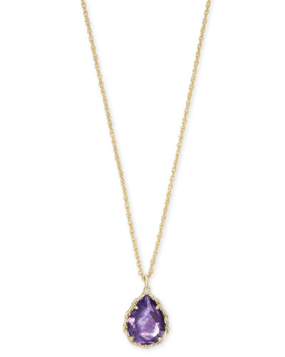 Dee Macrame Short Pendant Necklace - Gold - Purple Mica