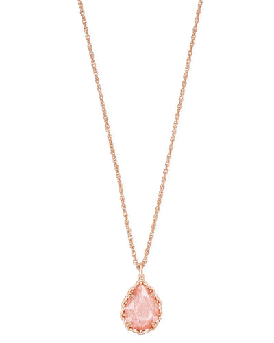Dee Macrame Short Pendant Necklace - Rose Gold - Blush Wood
