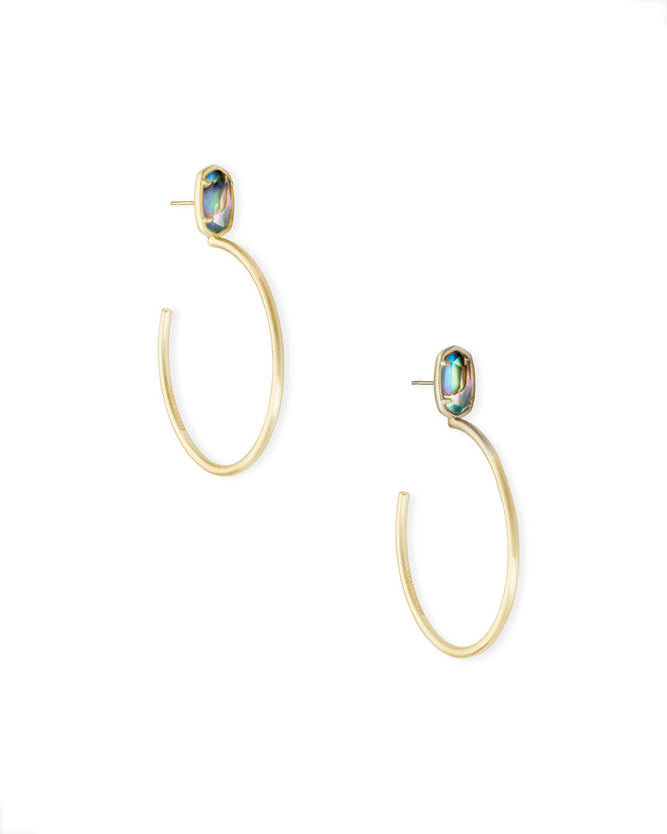 SMALL STONE PEPPER HOOP EARRING GOLD ABALONE