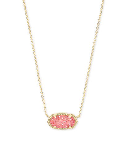 Elisa Necklace - Gold - Coral Drusy